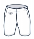 Black and white sketch of Tama board shorts style